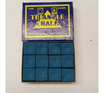 Triangle Pool Snooker Chalk 12 pieces Blue MADE IN USA