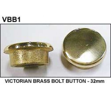 VICTORIAN BRASS BOLT BUTTON - 32mm
