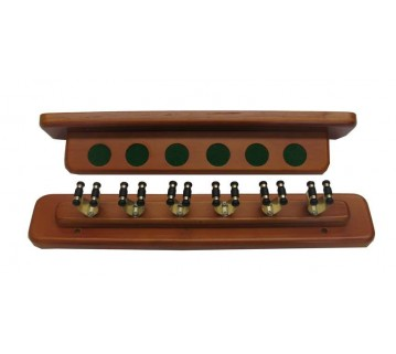 Eddie Charlton Walnut 2 piece 6 Brass clip Cue Rack