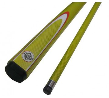 Pool Billiard Cue Yellow Fluoro with White &amp; Red Flame 54 inch