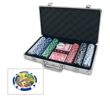 300 PIECE POKER GAME SET ALUMINIUM CASE NUMBERED CHIPS