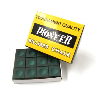 Pioneer Billiard Pool Snooker Chalk 12 pieces Green