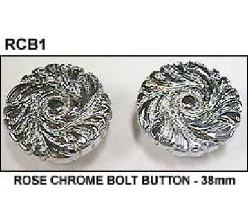 ROSE CHROME BOLT BUTTON - 38mm