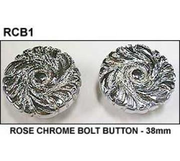 ROSE CHROME BOLT BUTTON - 38mm