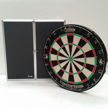 New Concept TX290 DARTBOARD & Black Aluminium CABINET & Six DARTS