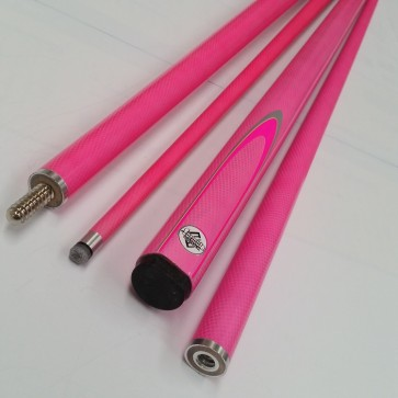 "57"" Composite 2 Pce Pool Snooker Billiards CUE - Hot Pink Fluro with Silver Flame"