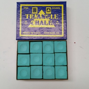 Triangle Billiards Pool Snooker CUE CHALK - 12 Pieces - GREEN - MADE IN USA
