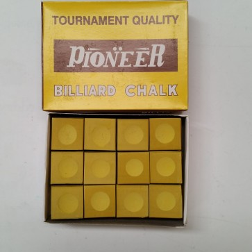Pioneer Billiards  Pool Snooker CUE CHALK - 12 Pieces - YELLOW