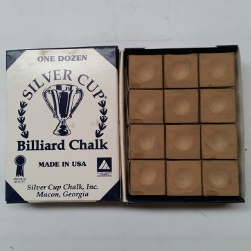 Silver Cup Billiard CUE CHALK 12 Pieces - TAN - Made In USA