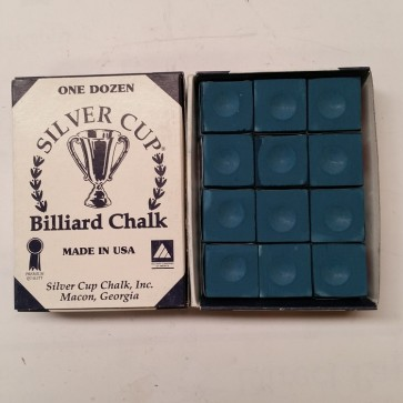 Silver Cup Billiard CUE CHALK 12 Pieces - BLUE - Made In USA