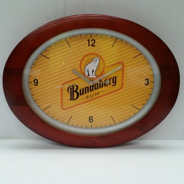 Bundaberg Rum Oval Yellow Pool Room WALL CLOCK