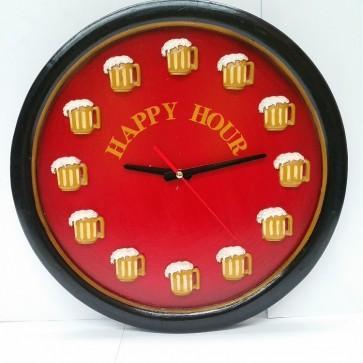 Happy Hour Pool Room WALL CLOCK