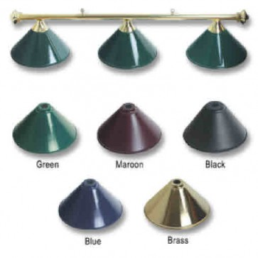 Metal BRASS Pool Snooker Billiards Table LIGHT - 3 x Green Light Hats