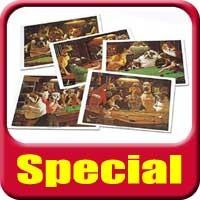 Complete Set 5x Arthur Sarnoff Dogs playing Pool Prints