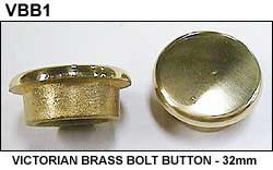 (1) Single VICTORIAN BRASS BOLT BUTTON - 32mm