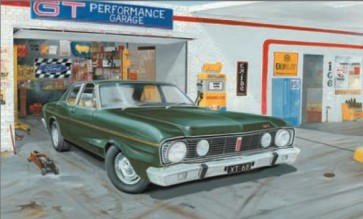 Australian Cars & Transport 1968 GT Falcon Garage Scene Tin Sign