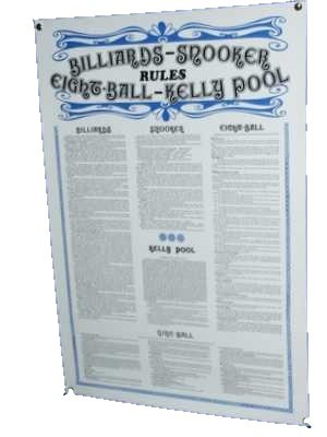 Billiard Table Rule Poster Billiards Snooker Pool