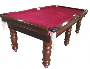 Charlton Pro Slate 6 leg Pool Table Walnut Burgundy 8F