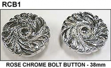 Single Rose BOLT BUTTON - 38mm - CHROME