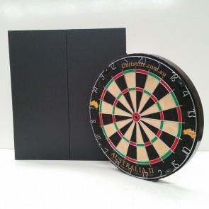 Australia II Micro/Triangle Wire Dartboard & Cabinet Solid Black Finish + Free Darts
