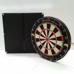 Australia II Micro/Triangle Wire Dartboard & Black Aluminium Cabinet + Free Darts
