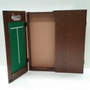 Dartboard CABINET - Walnut Finish with Scoreboard