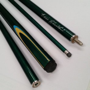 "EC 2 Pce Pool Snooker Billiards 57"" CUE - Dark Green with Blue & Yellow Flame"
