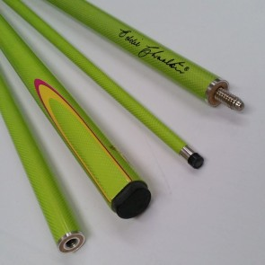 "EC 2 Pce Pool Snooker Billiards 57"" CUE - Green Fluro with Yellow & Pink Flame"