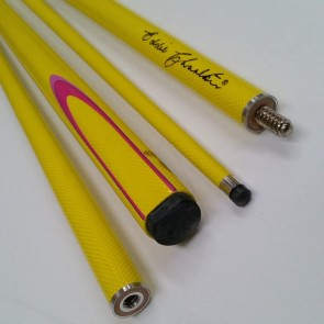 "EC 2 Pce Pool Snooker Billiards 57"" CUE - Yellow with Pink & Light Pink Flame"