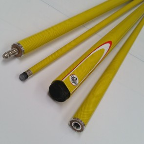 "57"" Graphite 2 Pce Pool Snooker Billiards CUE - Yellow Fluoro with White & Red Flame"