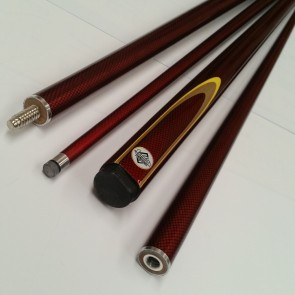 "57"" Graphite 2 Pce Pool Snooker Billiards CUE - Maroon with Gold & Yellow Flame"