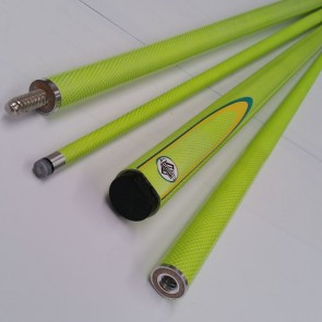 "57"" Graphite 2 Pce Pool Snooker Billiards CUE - Green Fluoro with Yellow & Green Flame"