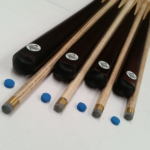 """Four (4) x Ash 57"""" 1 Pce Full Length Pool Snooker Billiard CUES & 4 Glue On TIPS"""
