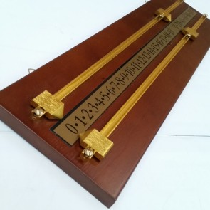 Walnut Wooden Scoreboard with Brass Pointers and Rails