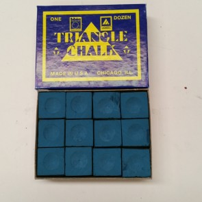 Triangle Billiards Pool Snooker CUE CHALK - 12 Pieces - BLUE - MADE IN USA