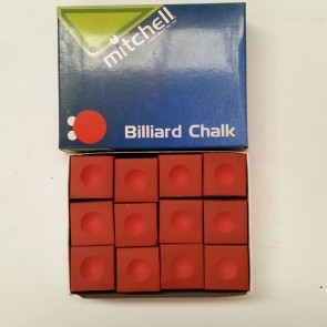 Mitchell Billiards Pool Snooker CUE CHALK - 12 Pieces - RED