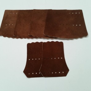 Set of Six Leather Billiards Pool Snooker POCKETS - DARK BROWN