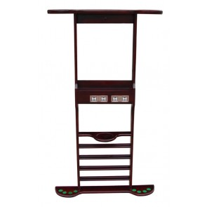 Wall Mount CUE RACK with Scorer - 8 Clips - WALNUT