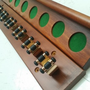 WALNUT 2 piece 8 Brass clip Cue Rack