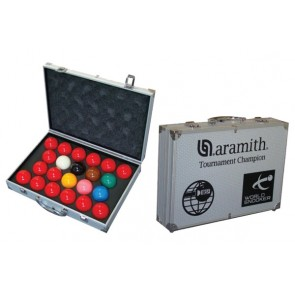ARAMITH TOURNAMENT CHAMPIONSHIP SUPER PRO 1G SNOOKER BALL AND CARRY CASE SET 2 1/16 INCH