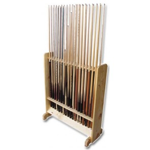 Floor Rack LARGE WOODEN Pool Snooker Billiards CUE STAND - Holds 36 Cues