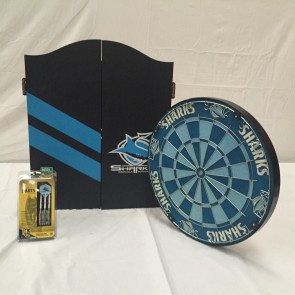 NRL Licensed DARTBOARD PACK - Cronulla Sutherland SHARKS New Design 2015