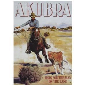 Australian Heritage Series Akubra Hat Man Riding Horse Tin Sign