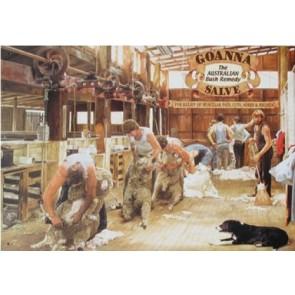 Australian Heritage Series Goanna Salve Sheep Shearing Tin Sign