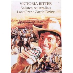 Australian Heritage Series Victoria Bitter Beer Cattle Drive Tin Sign