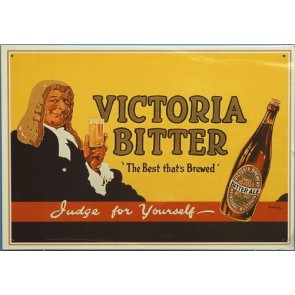 VB Victoria Bitter Judge For Yourself Vintage Tin Sign