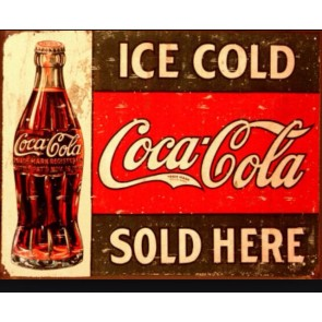 Coca Cola - COKE c.1916 Ice Cold - Tin Sign