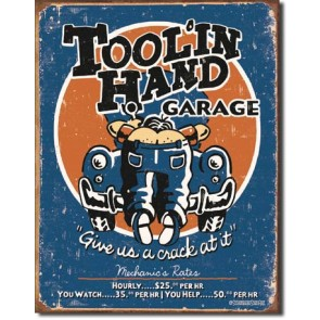 Moore - Toolin' Hand Tin Sign
