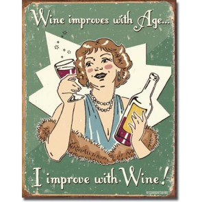 Schonberg - Wine Improves Tin Sign