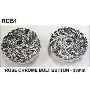 (1) Single ROSE CHROME BOLT BUTTON - 38mm